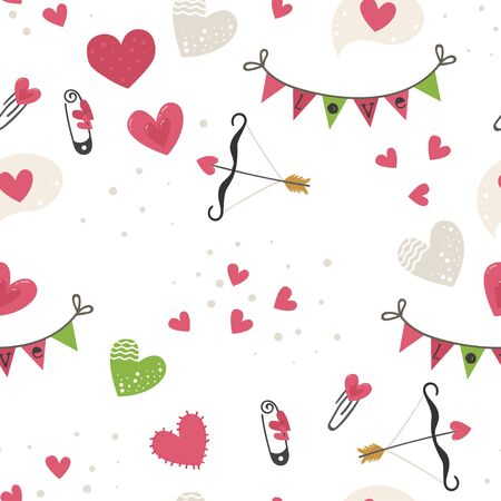 Seamless pattern with hearts, arrows, flags
