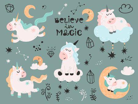 Set of magic unicorns