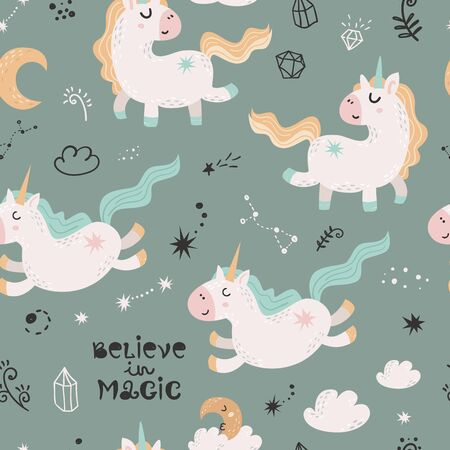 Seamless pattern with magic unicorns.