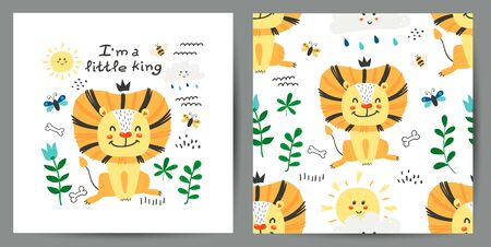 Set of cute poster and seamless pattern with lions