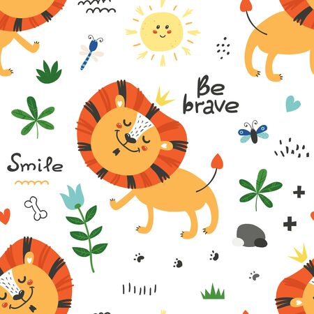 Seamless pattern with cute lions