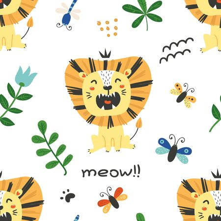 Seamless pattern with cute lions. Cartoon design for birthday invitation, poster, clothing, nursery wall art and card.