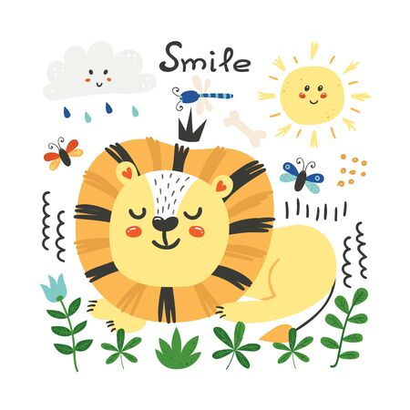 Cute poster with lion. Funny character for kids. Isolated element for stickers, cards, invites and posters Funny character for kids. Isolated element for stickers, cards, invites and posters
