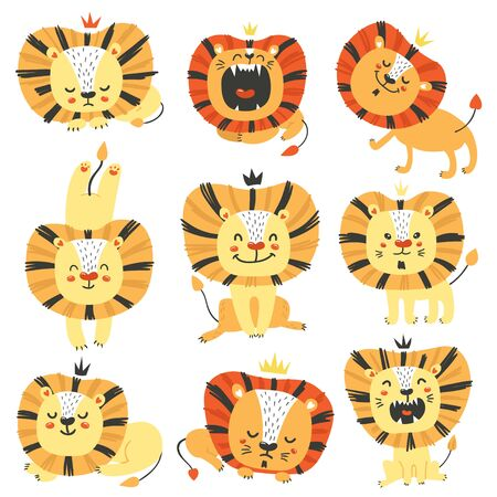 Set of cute lions. Cartoon design for birthday invitation, poster, clothing, nursery wall art and card.