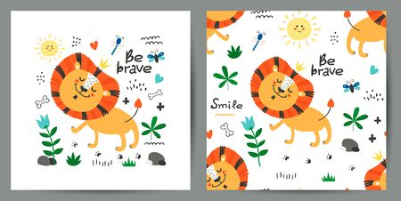 Set of cute poster and seamless pattern with lions. Kids design for birthday invitation, poster, clothing, nursery wall art