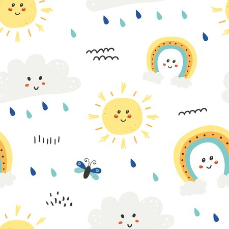 Seamless pattern with cute sun, clouds and rainbow
