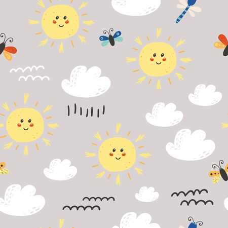 Seamless pattern with cute sun, clouds.