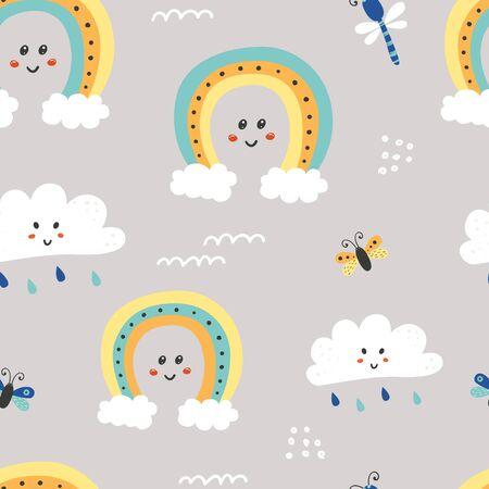 Seamless pattern with cute clouds and rainbow. Illusztráció