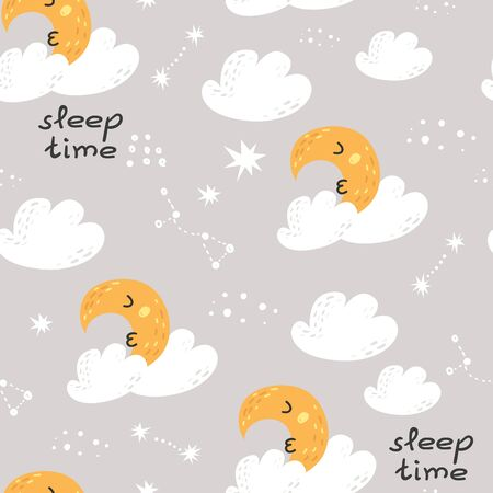 Seamless pattern with cute moon, stars and clouds.