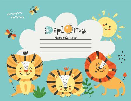 Diploma template with lions for kids Illusztráció