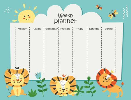 Weekly planner with funny lions