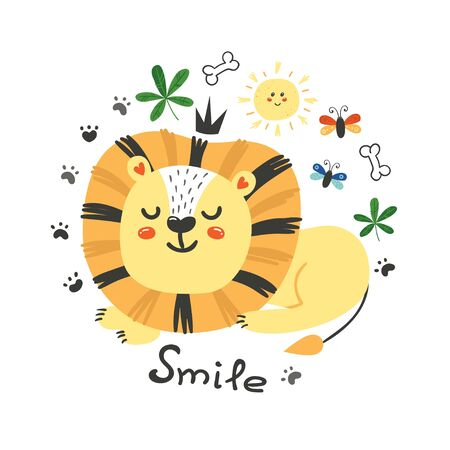 Cute poster with lion.