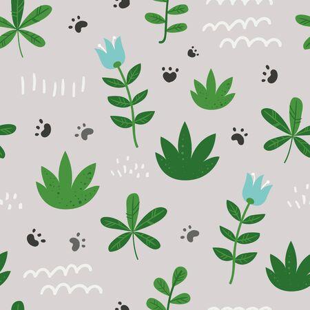 Seamless pattern with foliage, flowers