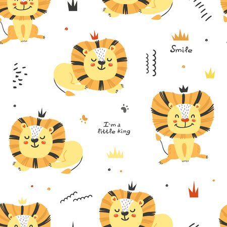 Seamless pattern with cute lions. Illusztráció
