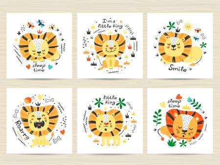 Set of posters with cute lions and letterings. Childish design for birthday invitation, poster, clothing, nursery wall art and card.
