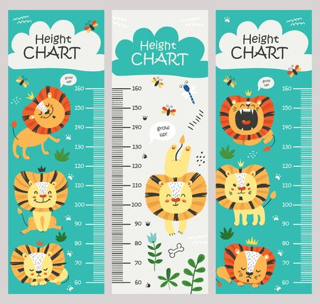 Kids height chart. Vector isolated illustration with lions