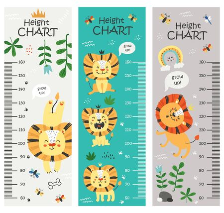 Kids height chart. Vector isolated illustration with lions Vetores