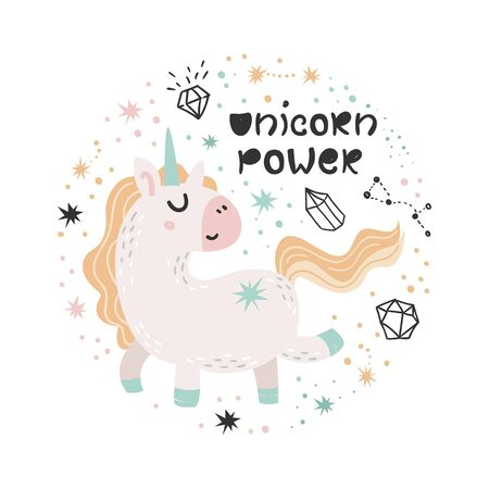 Cute poster with Unicorn. Isolated element for stickers, cards, invites and posters 向量圖像