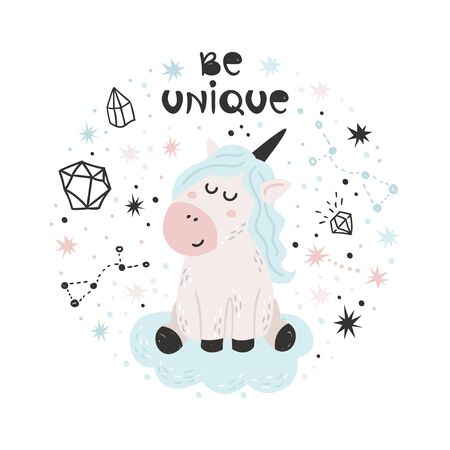 Cute poster with Unicorn. Isolated element for stickers, cards, invites and posters