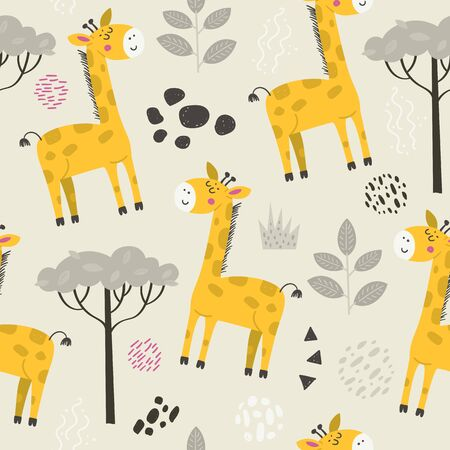 Seamless pattern with cute giraffes. Cartoon design for clothing, nursery wall art and wallpapers