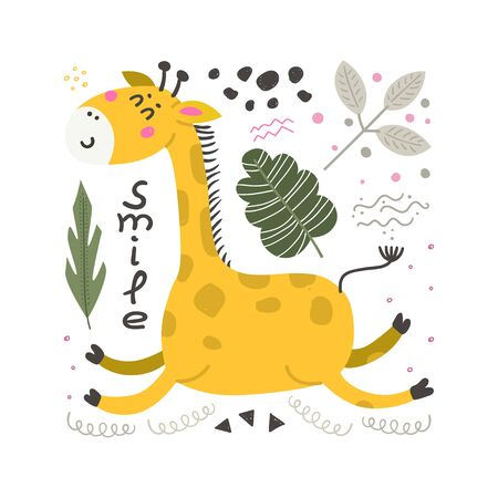 Vector poster with cute Giraffe. Funny character for kids. Isolated element for stickers, cards, invites and posters Иллюстрация