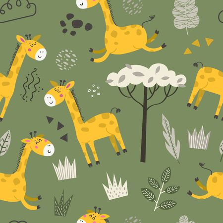 Seamless pattern with cute giraffes. Cartoon design for clothing, nursery wall art and wallpapers Иллюстрация