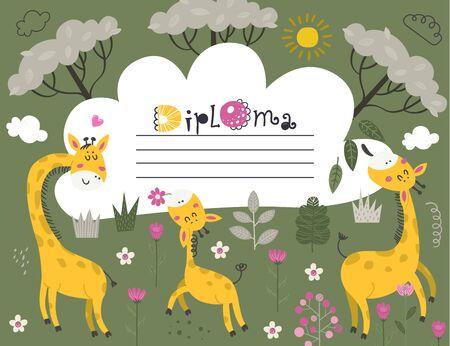 Diploma template with Giraffes, certificate background with Giraffes for school, preschool, kindergarten.