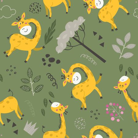 Seamless pattern with cute giraffes