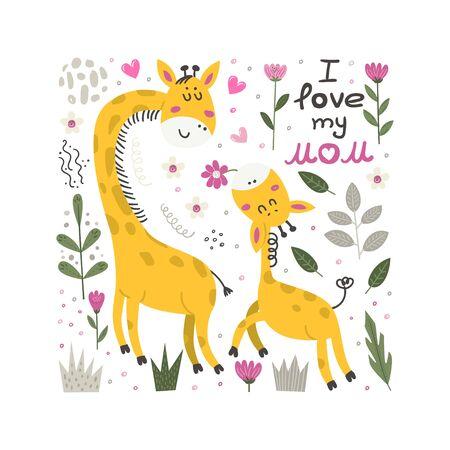 Vector poster with cute Giraffe. Vectores