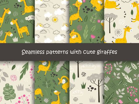 Set of seamless patterns with Giraffes and plants.