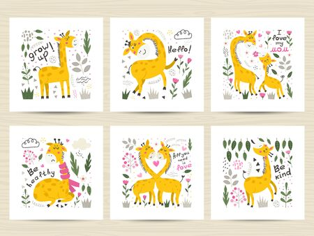 Set of vector posters with cute Giraffes.