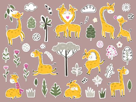 Big set of stikers with cute cartoon little giraffes and items. Vettoriali