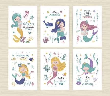 Set of posters with mermaids, starfish, seaweed and coral. Perfect for kids bedroom, nursery decoration, posters and wall decorations