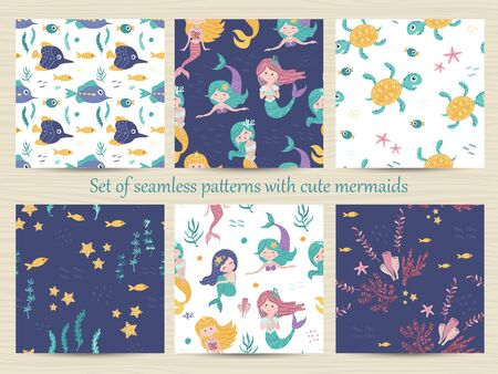 Set of seamless patterns with mermaids, turtles, starfish, seaweed and coral.
