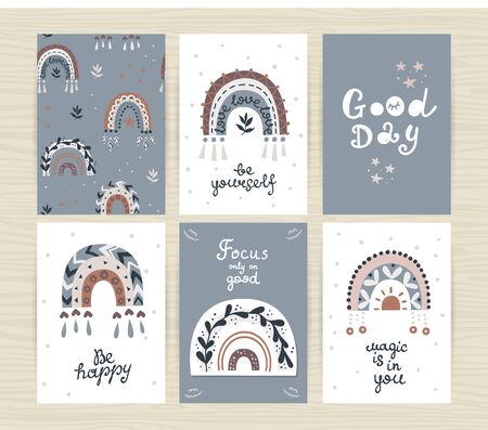 Set of posters with boho rainbows and and inscriptions. Perfect for kids bedroom, nursery decoration, posters and wall decorations Stockfoto - 149393162
