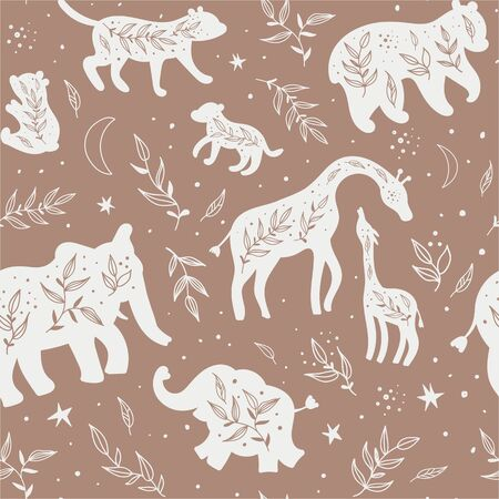 Seamless pattern with black and white silhouettes of wild animals and their cubs. Illustration