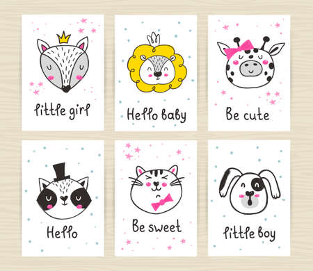 Set of posters with cute animals and inscriptions.