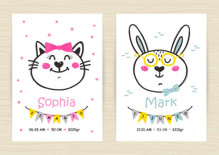 Baby shower invitation templates with cat and rabbit for girl and boy.