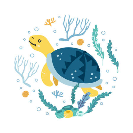 Sea turtle. Funny character for kids.