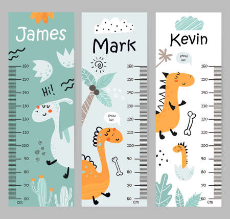 Kids height chart with with dinosaurs