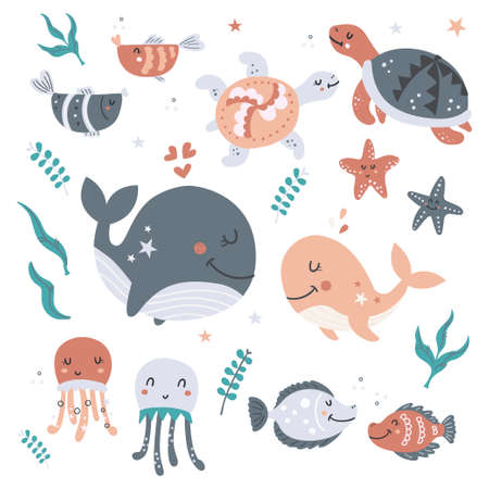 Set of sea animals 向量圖像