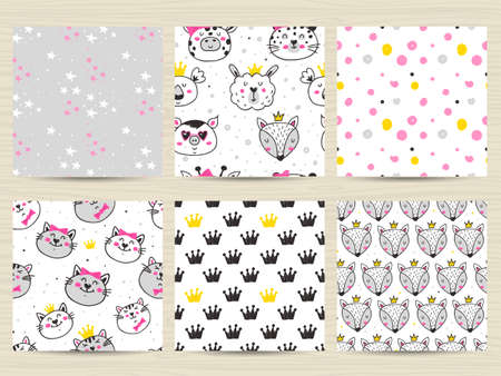 Set of Childish seamless pattern with cute animals