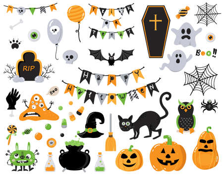 Set of hallowen design elements