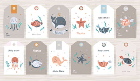 Set of tags with marine animals for girl and boy