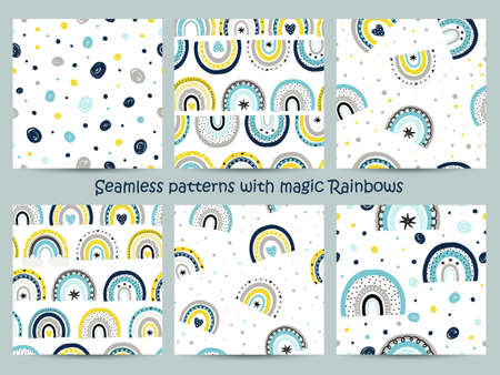 Set of seamless patterns with magic rainbows