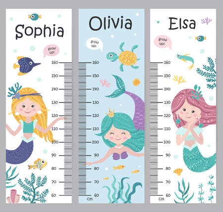 Kids height chart with mermaids