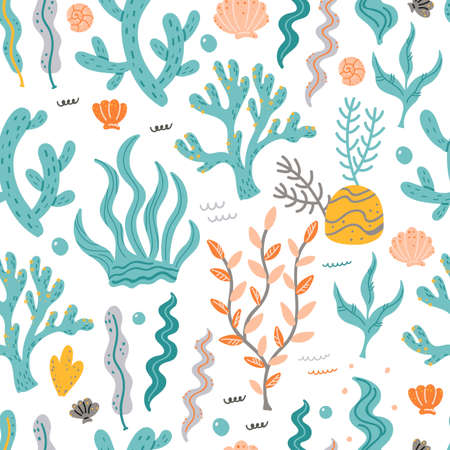 Seamless pattern with seaweed