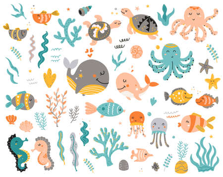 Big set of sea animals for kids.