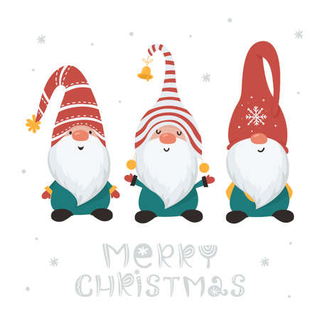 Christmas card with gnomes