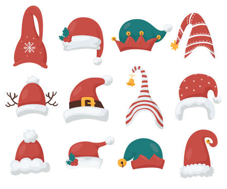 Santas and gnomes hats collection 向量圖像